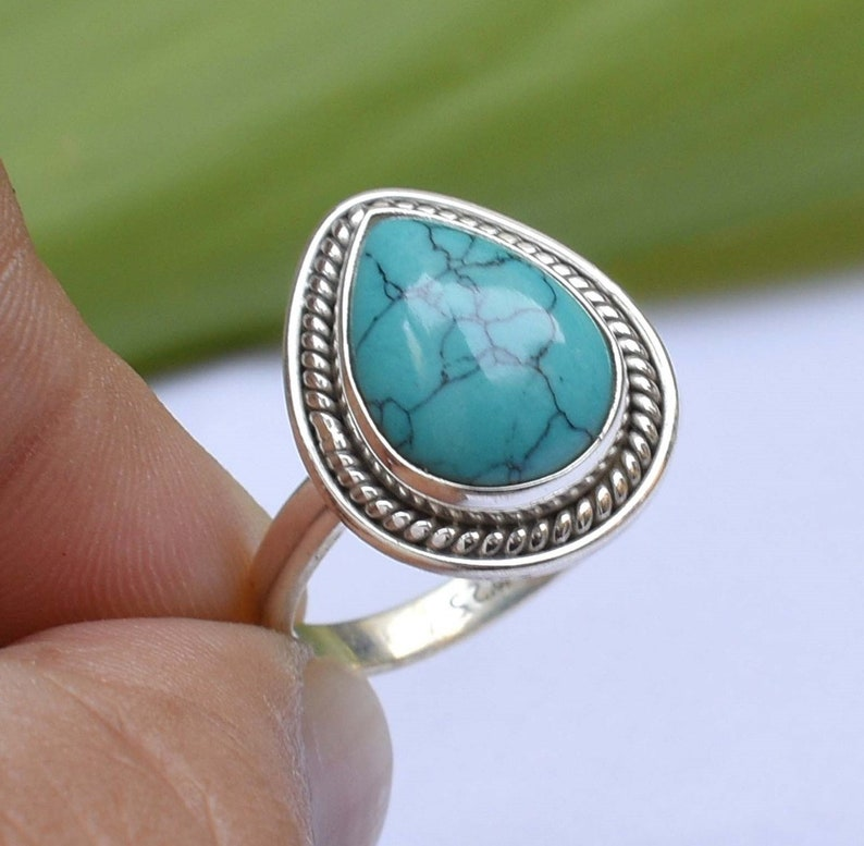 Gift For her jewelry Turquoise Ring 92.5/% Silver Ring Gift for Anniversary Solid Sterling Silver Ring Natural Turquoise Handmade Ring