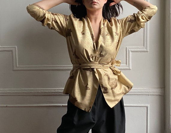 70's gold silk wrap blouse / s / m / l