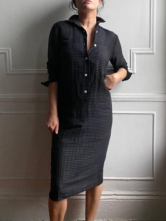 40's sheer black cotton dress / shirtdress  / smal