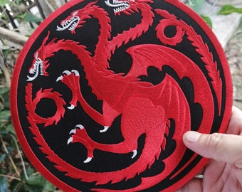 Large House Targaryen Dragon Game of Thrones Symbol Embroidered Iron on  Sew Patch