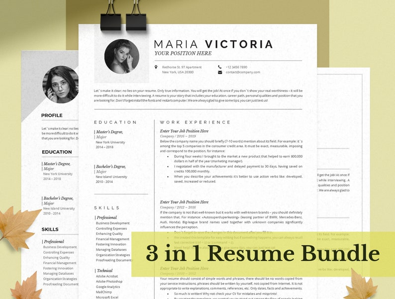 Resume Template Bundle for MS Word /& Mac Pages Creative Resume Teacher Professional CV Template Cover Letter 2 Pages Resume One Page
