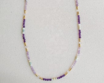 Mazarin crystal quartz and blue pearl gemstones gold plated beaded silver necklace