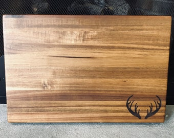 Medium Laser Engraved Bamboo Cutting Board Floral Antlers Stock