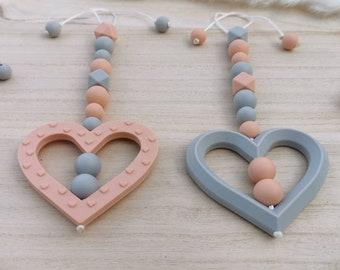 Maxicosi pendant heart, stroller pendant heart, toy bow pendant, peach, apricot, grey, silicone, also available individually