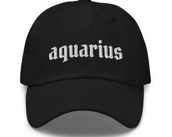 White Trucker Hats Embroidered Cap Embroidery Snapback Hat The Zodiac Aquarius