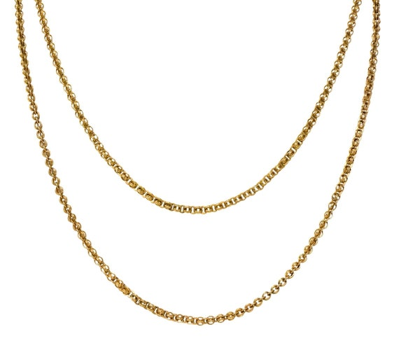 Victorian 14 Karat Gold 62 Inch Long Chain Necklac