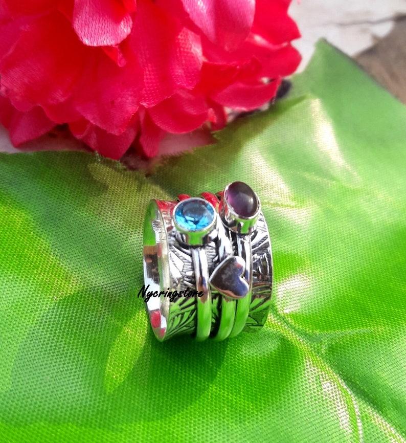 Meditation Ring Texture Spinner Promised Ring Topaz Ring 925 Sterling Silver Amethyst Ring,Spinner Ring Gift For Her Women Ring