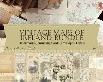 Vintage Maps of Ireland Digital Junk Journaling Bundle for Scrapbooking, Journaling, Crafts and Reading Journals