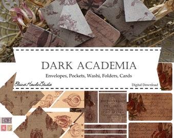 Dark Academia Librarian Journal Supplies | Pockets, Folders, Envelopes, Washi, & Journaling Cards