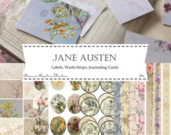 Jane Austen Labels, Washi and Journaling Cards