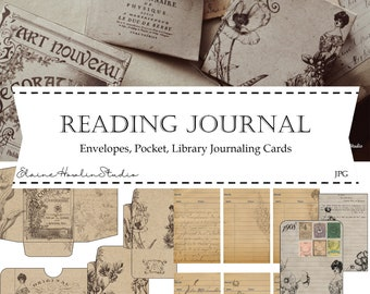 Gibson Girl Reading Journal Digital Junk Journaling Bundle for Scrapbooking, Crafting, Junk Journals