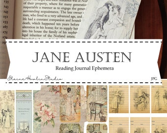 Jane Austen Reading Journal Ephemera for Journals, Planners, Scrapbooks, Card Making and Crafting | Digital Download