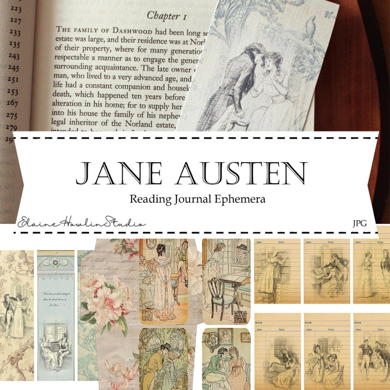 Jane Austen Reading Journal Ephemera for Journals Planners image 0