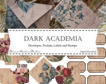 Dark Academia Librarian Journal Envelopes, Labels, Pockets and Stamps Digital Junk Journal Supplies