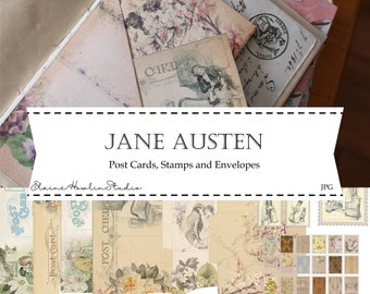 Jane Austen Digital Journal Ephemera - Post Cards, Stamps and Envelopes for Junk Journals, Scrapbooks, and Paper Crafts