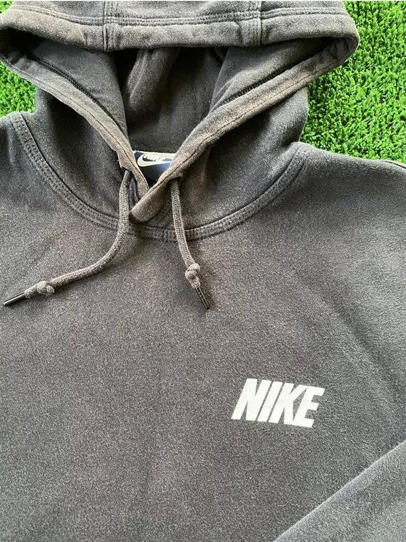 Nike Hoodie Sweatshirt Swoosh Faded Black Vintage