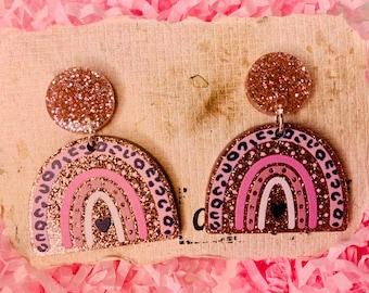 Leopard Rainbow Statement Loop Dangle Earrings I Acrylic Earring