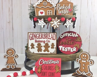Gingerbread Tiered Tray Set, Winter Tiered Tray, Tiered Tray Decor, Mini Wood Signs, 3D Wood Signs, Christmas Tiered Tray