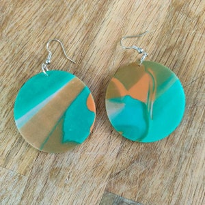 large lightweight violet polymer clay drops black touch of turquoise hoops with drops Earrings green