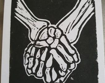 valentine/'s gift love lino print Till death