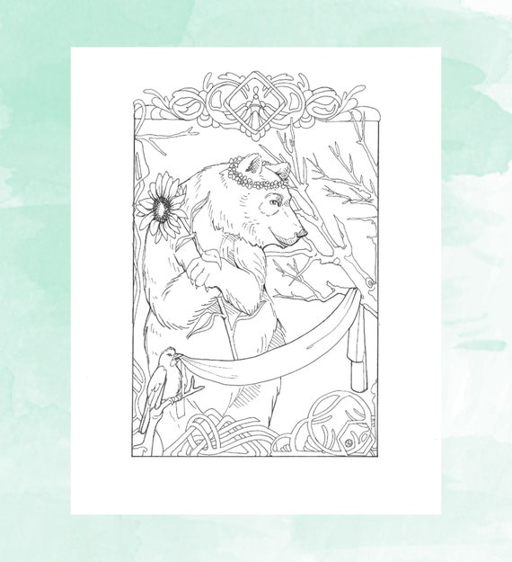 Printable Bear Holding Sunflower Coloring Page Adult Coloring Etsy
