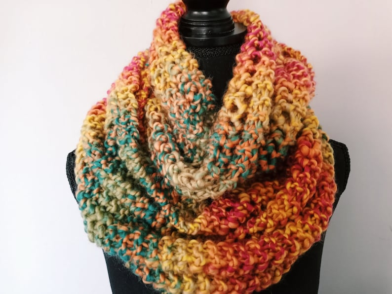 Hand Knit Multicolored Scarf