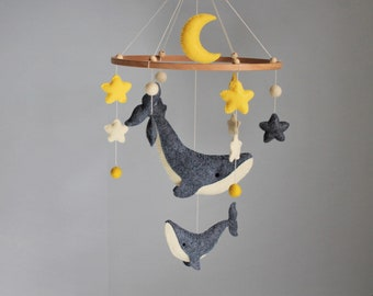 Baby mobile Ocean sewing Pattern   Whale, Moon, Stars felt ornaments PDF SVG    under the sea mobile