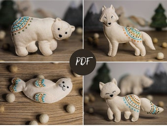Arctic Animals sewing patterns PDF | polar Bear, Wolf, Fox, Seal | felt baby mobile pattern| woodland baby mobile