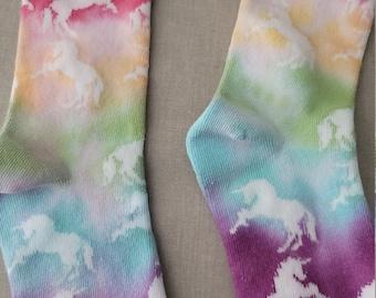 Kids Tie Dye Socks Blue and White Childrens Socks Soft Polkadot Socks for Toddler Hippie Kids One of a Kind Gift Size 4T