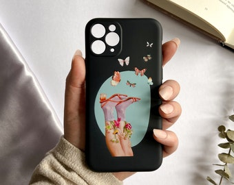 iPhone 11 or iPhone 11 pro cases. Phone case with butterflies and feet design. Black background. Soft silicone case