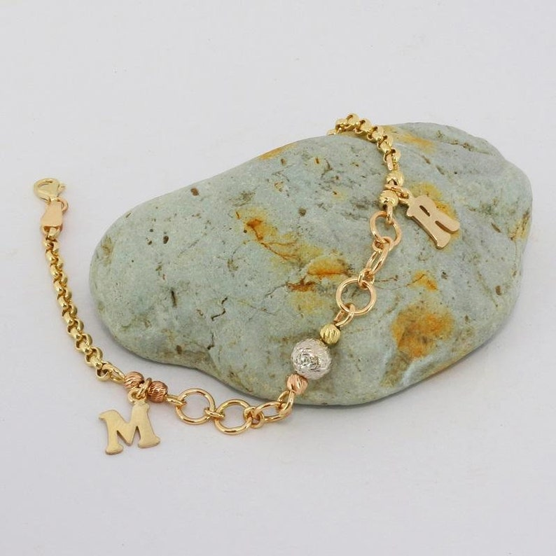 14k Solid Gold Personalized Letter Bracelet