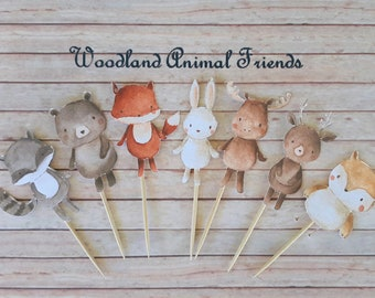 Set of 12 Woodland Animal Cupcake Toppers, Party  Decoration, Cake Toppers, Birthday, Baby Shower, Nursery