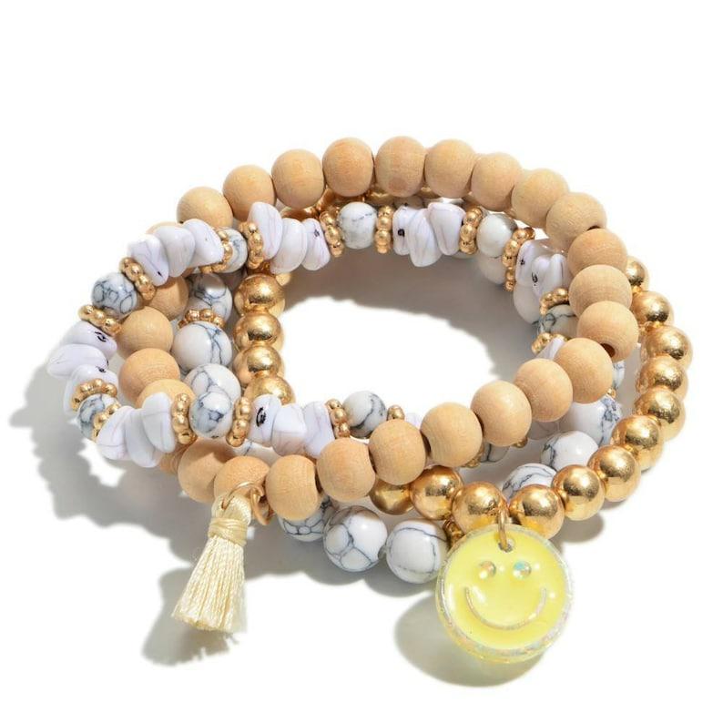 stretchy Gold and grey smiley bracelet