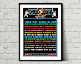 Glastonbury Festival 2019 Line Up Poster - Wall Art Print Photo