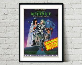 Beetlejuice (Tim Burton) Movie Poster - Classic 80's Vintage Wall Film Art Print Photo