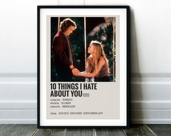 10 Things I Hate About You Movie Poster - Classic 90's Vintage Wall Film Art Print Photo