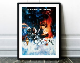 Star Wars: The Empire Strikes Back Movie Poster - Classic 80's Vintage Wall Film Art Print Photo