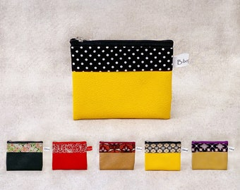 EUGENE card holder Flat wallet in cotton printed fabric, imitation leather and zipper color selection 2