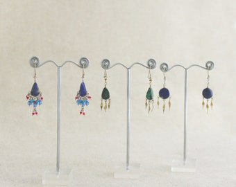 BOLIVIAN earrings Sodalite and Chrysocolle natural stones and alpaca selection 5