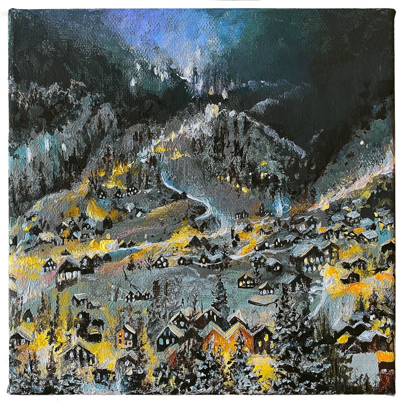 Original painting made with acrylic paints night city mountains houses in the valley warm lights road forest trees picture gift