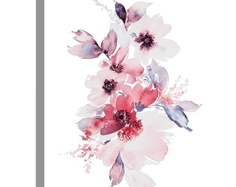 Pastel Pale Pink Flowers Floral Canvas Wall Art Print Picture