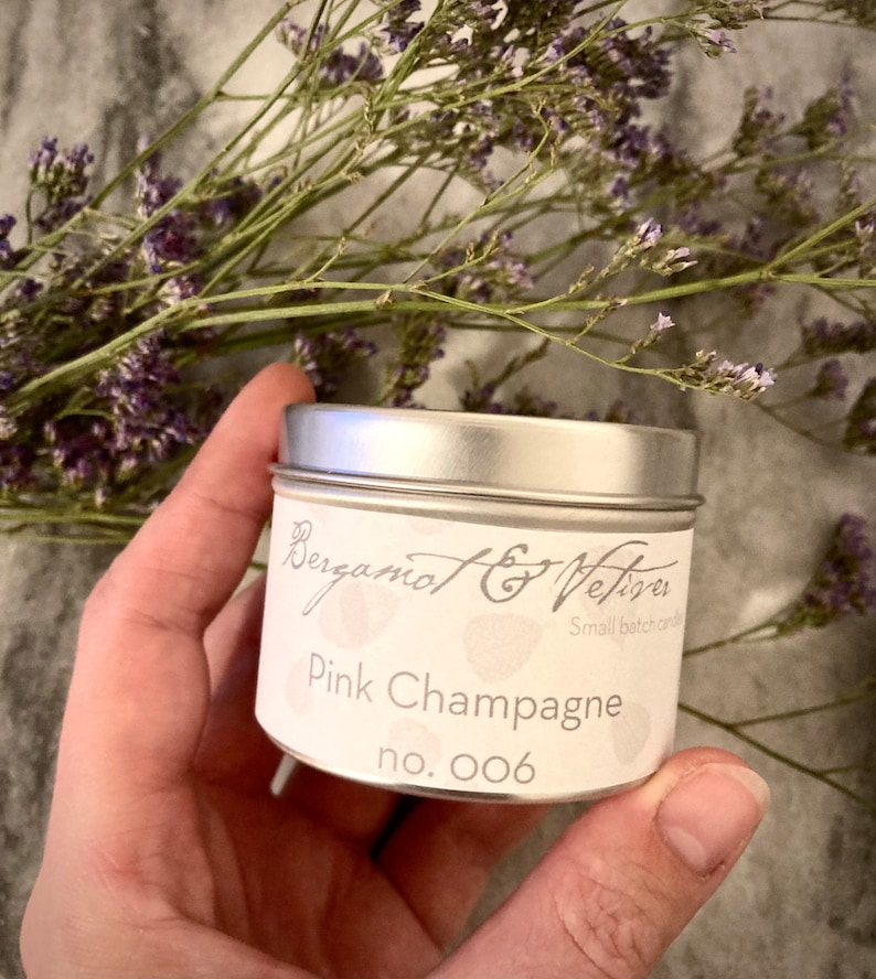 006 self care gift housewarming Mothers day gift for mom distance gift Pink champagne soy wax tin candle organic 4oz travel candle