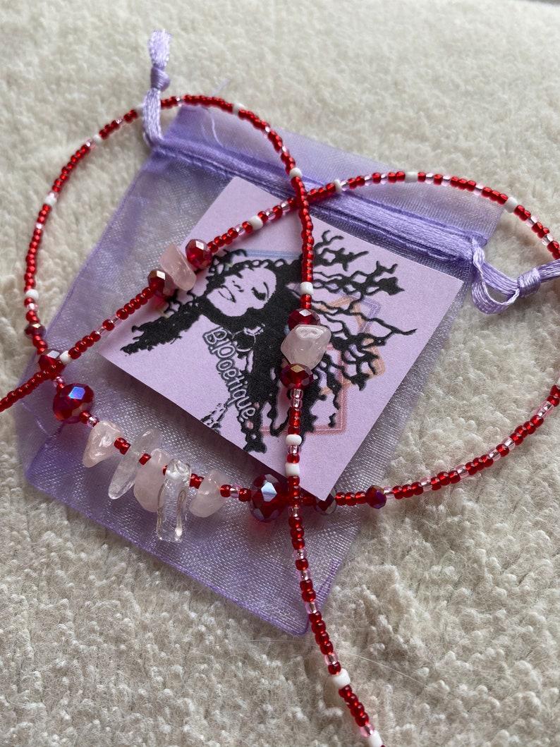 Mindfully Poetique Fierce Love Rose Quartz Waist Beads Screw Clasp