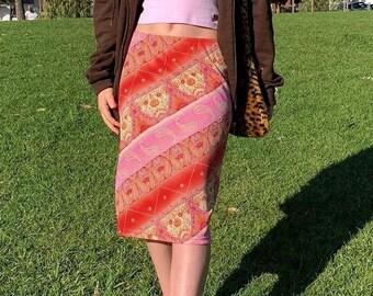 Bohemian Midi Skirt by St Johns Bay Size Medium 100/% Cotton Midi Skirt Made in IndiaBoho Gypsy Summer Beach Hipster Flower Child