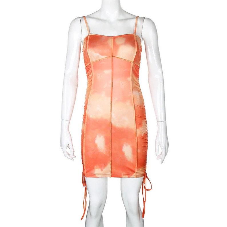 Tie Dye Mini Summer Dress Spaghetti Straps Streetwear  Activewear