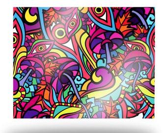 Superimposed Shroom Forest Metal Print, Colorful Mushroom Aluminum Wall Art