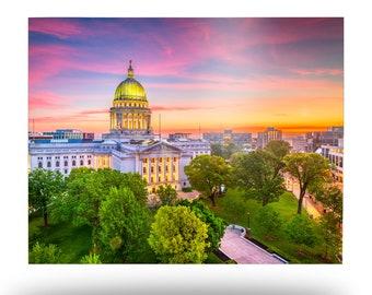 Capitol Dome at Sunset Metal Print, Madison Wisconsin Aluminum Wall Art