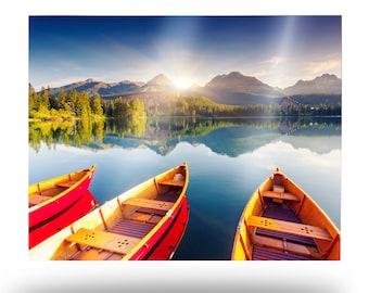 Lake Boats Metal Print, Mountain Lake Scene Aluminum Wall Art