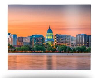 Madison Skyline Metal Print, Wiconsin State Capitol Aluminum Wall Art