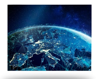 Earth from Space at Night Metal Print, Space Aluminum Wall Art